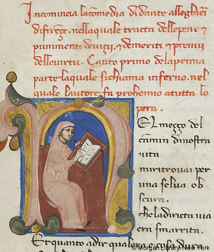Illumination of a scribe in a letter N.