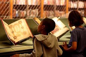 School children viewing books