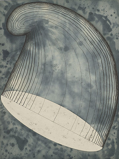 Drawing of abstract hat shape with black lines, and gray blue wash.