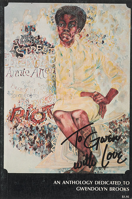 Book cover of seated figure wearing a yellow dress withb hand-written text saying to Gwen with Love.