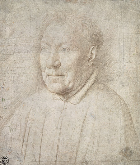 Drawing of head and shoulders of older man.