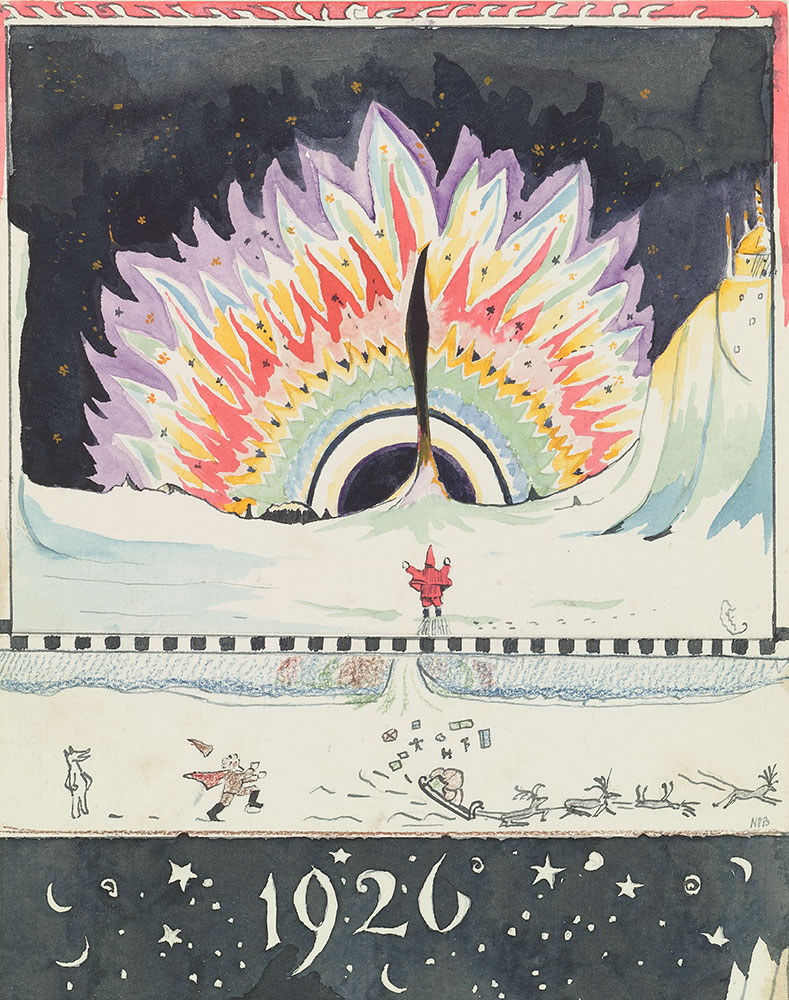 J. R. R. Tolkien (1892–1973), Drawing by Father Christmas of the Aurora  Borealis, December 1926, watercolor, black ink, colored pencil, pencil.