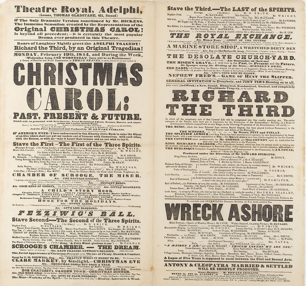playbill for a production of a christmas carol at the theatre royal adelphi 19 february 1844 the morgan library museum pml 25092 purchased in 1927 - A Christmas Carol Full Text