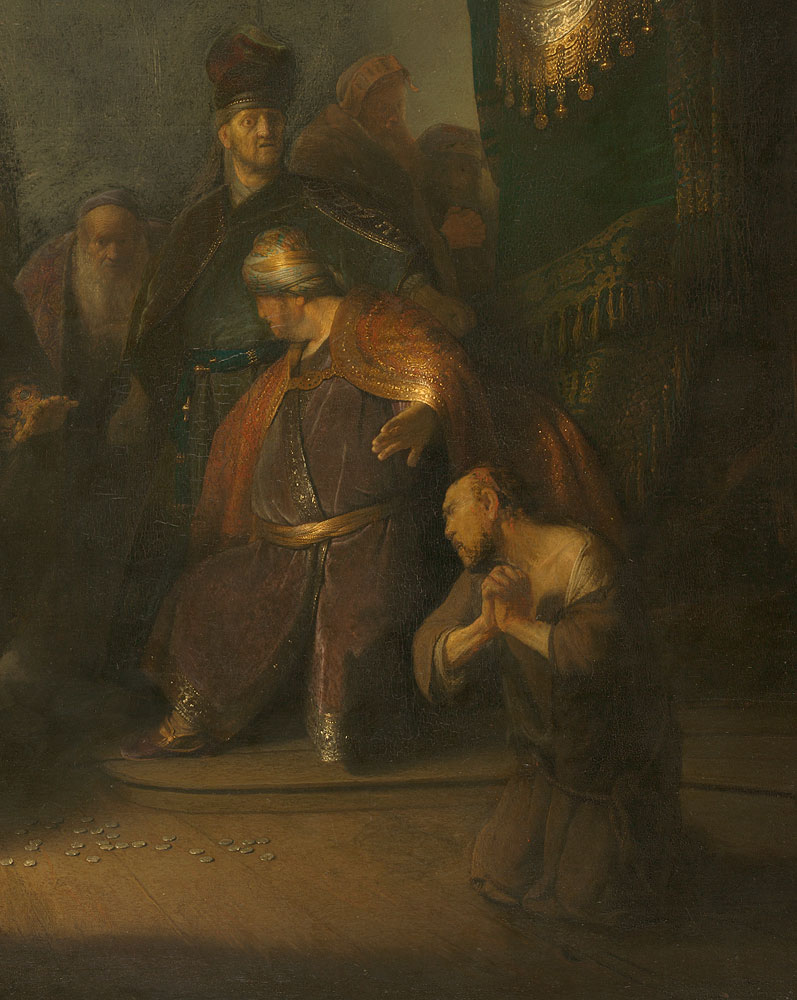 rembrandt s first masterpiece the morgan library museum rembrandt van rijn 1606 1669 judas returning the thirty pieces of silver 1629 oil on panel private collection copy private collection photography