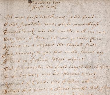 Image of Paradise Lost Manuscript