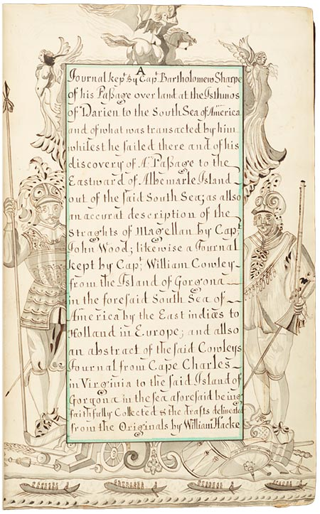 Title page of an illustrated manuscript of Bartholomew Sharpe's diary