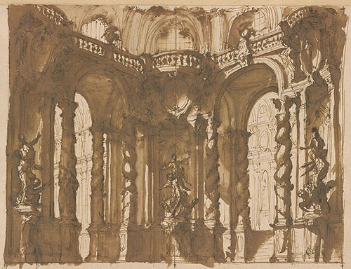 """Drawing showing interior architectural scene with columns and arches in gray and brown wash."""""""