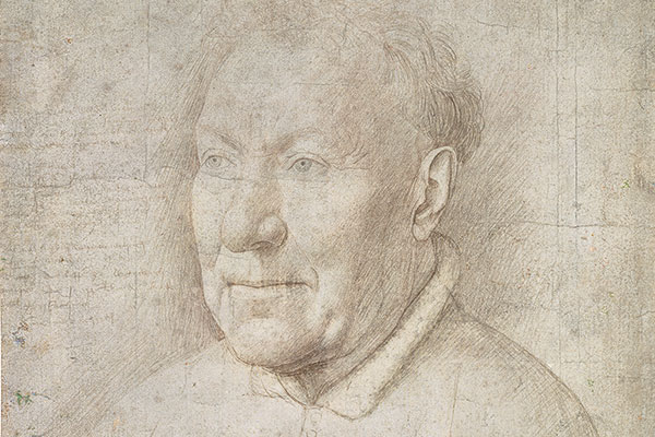 Dretail of a dawing of head and shoulders of a man with thinninghair and wrinkles around his eyes.