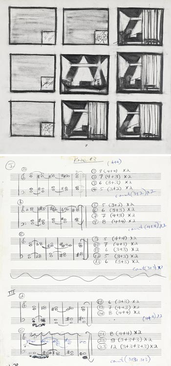 Image of Wilson drawing and Glass manuscript
