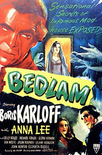 Movie poster for Bedlam starring Boris Karloff with Anna Lee