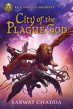 Book cover of City of the Plague Good with figure on chariot in a pink and purple sky being pulled by winged lion.