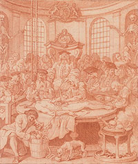 William Hogarth (1697–1764), Fourth Stage of Cruelty, detail, 1750–51, red chalk on paper. Purchased by Pierpont Morgan (1837–1913) in 1909, III, 32e. Photography by Steven H. Crossot, 2014.