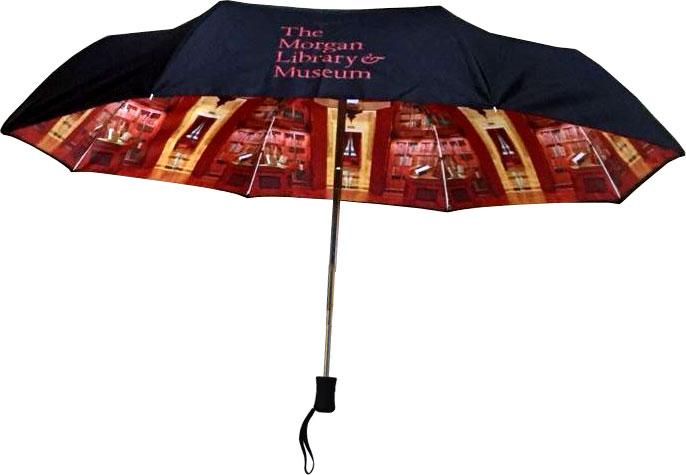 Open umbrella with Morgan logo