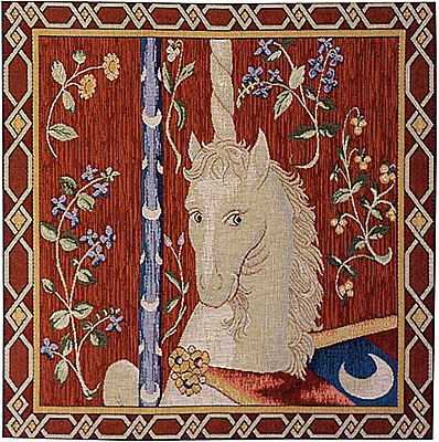 Textil pillow with head of unicorn on a deep red background surrounded by biege floral patterns.