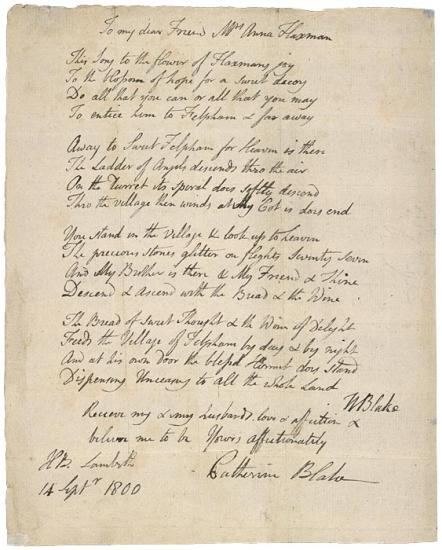 autograph letter  dated lambeth  14 september 1800  to mrs