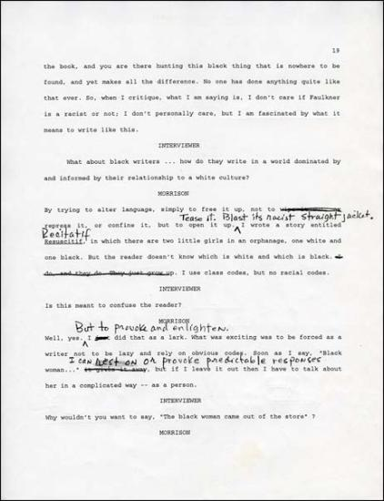 thesis statement on toni morrison Writing a literary analysis essay  a thesis statement,  toni morrison mirrors the fragmentation of her characters' lives through the structure of her novel,.
