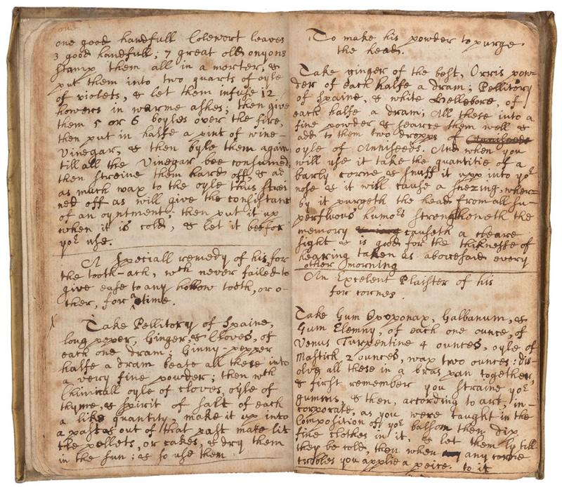 "Medicinal recipes from ""Vincent Lancelles"" in Sir Isaac Newton's notebook"
