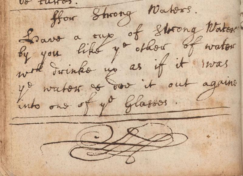 "Recipe to turn water into ""Strong Waters"" in Sir Isaac Newton's notebook"
