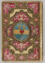 Decorated book binding in gold, blue, pink and black patterns with wheat sheafs and anchor in middle.
