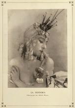 Sepia tone photograph of a woman's head and shoulders. Her hair, or wig is blonde and she is wearing a small crown prop.
