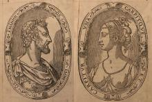 Two portraits in profile of a man and woman looking at eachother with oval decorative borders and latin text.