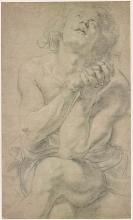 Drawings of sitting male figure with hands clasped in from of him.