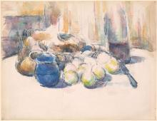 Still Life with Pears and Apples, Covered Blue Jar, and a Bottle of Wine