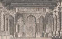 Drawing showing interior architectural scene with columns and arches in gray and brown wash