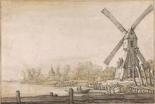 Image of Windmill by a River, with a Jetty in the Foreground