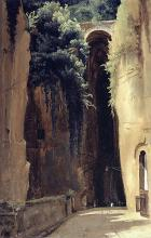 Oil painting of tall arch over pathway with green vegetation growing to the side and on top in yellow earth tones.